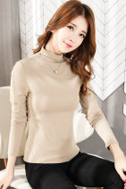 T-shirt Autumn of 2019 Long sleeves High collar Self cultivation Regular routine commute cotton 96% and above 25-29 years old Simplicity classic Solid color Xje / Xijian pure cotton Cotton 96% polyurethane elastic fiber (spandex) 4% Pure e-commerce (online only)