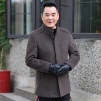 woolen coat M L XL XXL XXXL XXXXL Invisible Fox Business gentleman YX-255612-4 Polyester 50% wool 50% Woolen cloth Winter 2020 Medium length Other leisure easy Exclusive payment of tmall middle age Hoodless stand collar Single breasted Business Casual Solid color Cloth hem Side seam pocket wool