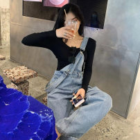 Jeans Autumn 2020 blue S M L XL trousers High waist rompers routine 18-24 years old Wash button multiple pockets Cotton denim light colour KERD68776 Love of Shu Mei 31% (inclusive) - 50% (inclusive) Other 100%