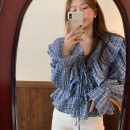 shirt lattice S M L XL Spring 2021 other 96% and above Short sleeve Original design Regular stand collar stripe 18-24 years old Love of Shu Mei zRFs40347 Other 100%