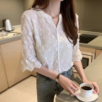 T-shirt white S M L XL 2XL Summer 2020 elbow sleeve V-neck Self cultivation Regular routine commute other 96% and above 25-29 years old Retro Solid color Love of Shu Mei Other 100%