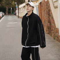 Leisure sports suit spring S M L XL 2XL 3XL Light grey dark blue black Long sleeves Duca Hawk trousers teenagers D - J - two hundred and one million two hundred and twenty-eight thousand eight hundred and twelve Spring 2021 sixty % Cotton 40 % polyester