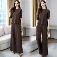 Casual pants Black grey bean paste 4XL M L XL 3XL XXL Autumn 2020 trousers Wide leg pants High waist commute routine 30-34 years old XSY0yy293 Elegant and elegant Korean version pocket Other 100% Pure e-commerce (online only)