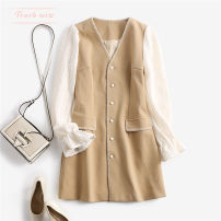 Dress Autumn 2020 Khaki contrast S(2),M(4),L(6),XL(8) Middle-skirt singleton  Long sleeves Sweet V-neck Loose waist Solid color Single breasted bishop sleeve Type H Touch miss T111116S 81% (inclusive) - 90% (inclusive) polyester fiber