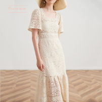 Dress Spring 2021 Off white S,M,L longuette singleton  Short sleeve commute square neck High waist other other other routine Others Type A Touch miss Retro T031802S 81% (inclusive) - 90% (inclusive) other cotton