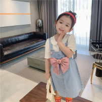 Dress female Other / other Cotton 95% other 5% summer Korean version Strapless skirt Solid color cotton Strapless skirt Mtx093 bow denim skirt Class B 8 years old Chinese Mainland blue 90cm,100cm,110cm,120cm,130cm,140cm