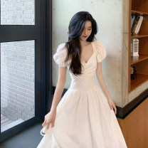Dress Summer 2020 white S M L XL Mid length dress singleton  Short sleeve commute V-neck High waist Solid color Socket Big swing puff sleeve Others 18-24 years old Type A Dong Zhiling Korean version Ruffle stitching More than 95% other other Other 100% Pure e-commerce (online only)