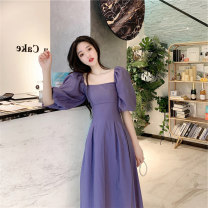 Dress Summer 2020 S M L XL longuette singleton  elbow sleeve commute square neck High waist Solid color Socket A-line skirt puff sleeve Others 18-24 years old Type A Dong Zhiling Retro More than 95% Chiffon other Other 100% Pure e-commerce (online only)