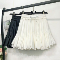 skirt Summer of 2019 Average size Black, white Short skirt Versatile High waist Irregular Solid color Type A 18-24 years old Chiffon Other / other polyester fiber Fold, tie, splice