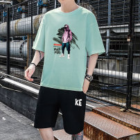 T-shirt Youth fashion thin Cabano elbow sleeve Crew neck easy Other leisure summer KBATX-213 Cotton 100% teenagers Off shoulder sleeve tide other Cartoon animation Summer 2021 printing cotton Creative interest Non iron treatment Fashion brand Pure e-commerce (online sales only) More than 95%