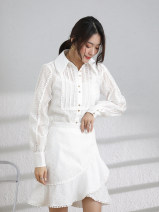 shirt Ice snow white (advanced dyeing) S M L Spring 2021 polyester fiber 96% and above Long sleeves commute Regular Polo collar Single row multi button routine Solid color 18-24 years old Straight cylinder Veomio / vimio Korean version L930 Polyester 100% Pure e-commerce (online only)
