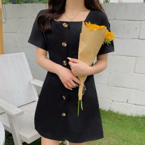 Dress Summer 2020 black S M L XL Mid length dress singleton  Short sleeve commute High waist Solid color Single breasted A-line skirt routine 18-24 years old Type A Mengyingchun Korean version Button xh518 More than 95% polyester fiber Polyester 100% Pure e-commerce (online only)