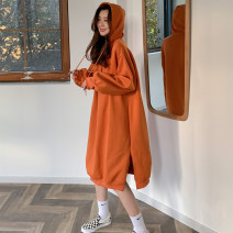 Sweater / sweater Winter 2020 Orange Black Average size Long sleeves have more cash than can be accounted for Socket singleton  Plush Hood easy commute routine Solid color 18-24 years old 81% (inclusive) - 90% (inclusive) Mengyingchun Korean version polyester fiber Button Drawstring Three buttons
