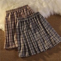 skirt Spring 2021 M L XL Purple blue and reddish brown Short skirt commute High waist A-line skirt lattice Type A 18-24 years old 51% (inclusive) - 70% (inclusive) Mengyingchun polyester fiber Korean version Polyethylene terephthalate (polyester) 67% cotton 28% polyurethane elastic fiber (spandex) 5%