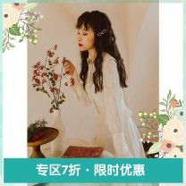 Dress Spring 2020 Apricot S M L Mid length dress singleton  Nine point sleeve commute square neck Solid color Socket Big swing bishop sleeve Others 18-24 years old Type H Annie Chen Retro More than 95% other polyester fiber Polyester 100%