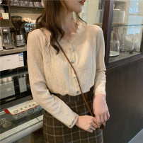 shirt Apricot Average size Spring 2021 other 30% and below Long sleeves Sweet Regular V-neck Single row multi button routine Solid color 18-24 years old Other / other Stitching, lace, buttons college