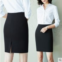 skirt Summer 2021 XS,S,M,L,XL,2XL,3XL black Middle-skirt Versatile High waist skirt Solid color Type A 30-34 years old 91% (inclusive) - 95% (inclusive) knitting Other / other nylon zipper