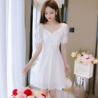 Dress Summer 2020 Yellow flowers, white flowers S,M,L,XL Middle-skirt singleton  Short sleeve commute square neck middle-waisted Broken flowers zipper A-line skirt Lotus leaf sleeve Others 30-34 years old Type A Other / other Korean version 81% (inclusive) - 90% (inclusive) Chiffon other