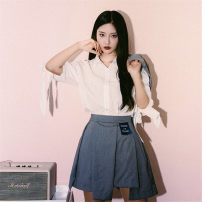 skirt Summer of 2018 S,M,L Grey, black, grey A-line skirt, blue and white plaid skirt Short skirt street Natural waist Irregular Solid color Type A 18-24 years old Other / other Asymmetry Hip hop