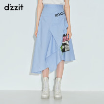 skirt Summer 2020 XS S M wathet Mid length dress commute Natural waist A-line skirt letter Type A 25-29 years old More than 95% other d'zzit cotton Patchwork printing lady Cotton 100% Same model in shopping mall (sold online and offline)