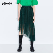 skirt Winter of 2019 XS S M L Dark green black Mid length dress Natural waist Irregular Solid color Type A 25-29 years old 3G4S4127Q More than 95% d'zzit polyester fiber Polyester 100% Same model in shopping mall (sold online and offline)