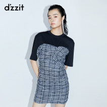 Dress Summer 2020 XS S M Short skirt singleton  Short sleeve commute Crew neck middle-waisted lattice zipper Irregular skirt routine 25-29 years old Type H d'zzit lady Fold splicing 51% (inclusive) - 70% (inclusive) other cotton Cotton 58% polyester 42%