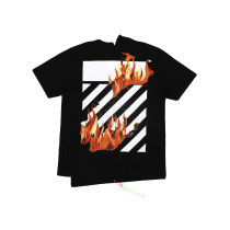 T-shirt Youth fashion black routine XS S M L off-vv hite Short sleeve Crew neck easy daily summer