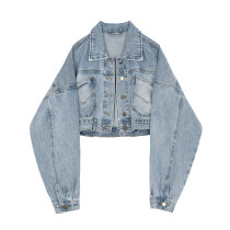 short coat Autumn of 2018 S M L Short denim jacket (original quality) Long sleeves have cash less than that is registered in the accounts routine singleton  Straight cylinder commute bishop sleeve Polo collar Single breasted Solid color 18-24 years old 91% (inclusive) - 95% (inclusive) pocket cotton