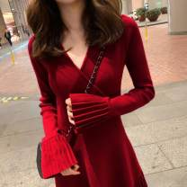 Women's large Autumn 2020 Red, black S=1,M=2,L=3,XL=4 Dress singleton  commute Self cultivation moderate Socket Long sleeves Solid color Korean version V-neck routine polyester routine 96% and above Short skirt other