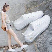 canvas shoe DD&OO Low Gang White black 35 36 37 38 39 40 Spring of 2018 Frenulum leisure time rubber Solid color Youth (18-40 years old) Cross bandage