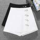 Casual pants Black and white S M L XL Summer 2021 shorts Wide leg pants High waist Versatile Thin money 25-29 years old Della do zipper Other 100% Pure e-commerce (online only) Asymmetry