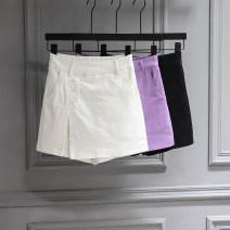 skirt Summer 2020 S,M,L,XL Purple, white, black Short skirt Versatile High waist skirt Solid color Type A 71% (inclusive) - 80% (inclusive) Denim cotton