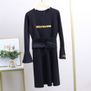 Dress Winter 2020 Black with belt, black without belt S,M,L Mid length dress singleton  Long sleeves street Crew neck middle-waisted other Socket A-line skirt routine 25-29 years old Xking / Exxon 30% and below other nylon