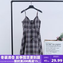 Dress Winter 2020 lattice S,M,L,XL Mid length dress singleton  street V-neck Loose waist lattice other A-line skirt camisole 25-29 years old Xking / Exxon More than 95% other
