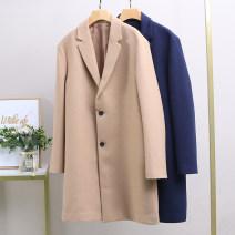 woolen coat Khaki, Navy S,M,L,XL,2XL,3XL Xking / Exxon Youth fashion Polyethylene terephthalate (polyester) 64.3% viscose fiber (viscose fiber) 34.5% polyurethane elastic fiber (spandex) 1.2% Medium length Other leisure Self cultivation tailored collar Single breasted Solid color other
