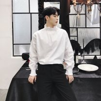 shirt Youth fashion Others M,L,XL White, black routine stand collar Long sleeves easy Other leisure Four seasons youth like a breath of fresh air 2018