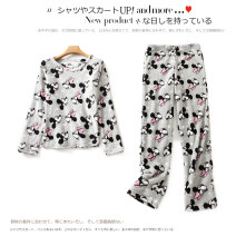 Pajamas / housewear set female Lady Boya other Long sleeves Cartoon Leisure home winter Crew neck Cartoon animation trousers Socket youth 2 pieces Tether Coral velvet fabric printing