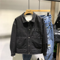 Jacket Other / other Youth fashion black M,L,XL,2XL,3XL routine Self cultivation Other leisure spring Cotton 100% Long sleeves Wear out Lapel tide youth routine Zipper placket Rib hem Closing sleeve Solid color Side seam pocket cotton