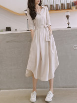 Dress Summer 2021 Apricot S,M,L,XL,2XL,3XL Mid length dress singleton  three quarter sleeve commute V-neck High waist Solid color Three buttons Irregular skirt routine Others Other / other Button, pocket 51% (inclusive) - 70% (inclusive) other other