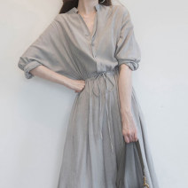 Dress Summer 2021 Black shirt skirt, grey shirt skirt S,M,L,XL,2XL,3XL,4XL Middle-skirt singleton  Short sleeve commute V-neck High waist Solid color Single row two buttons A-line skirt routine Others 18-24 years old Type A Other / other Button, strap More than 95% other other