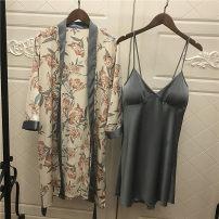 Nightgown / bathrobe Other / other female M,L,XL Black, dark green, lake blue Thin money sexy