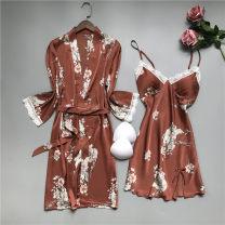 Nightgown / bathrobe Esmore female M,L,XL Black, green, pink, orange Thin money sexy Polyester (polyester) silk Plants and flowers 3210 printed hanging Robe printing