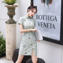 cheongsam Summer 2020 S M L XL XXL Short sleeve Short cheongsam Retro High slit daily Oblique lapel Solid color 18-25 years old Piping Li Ya Lei's Poems polyester fiber Polyester 80% other 20% Pure e-commerce (online only)