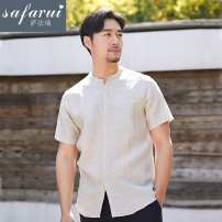 shirt Fashion City Safari S/165,M/170,L/175,XL/180,XXL/185 white , wathet , Navy , Linen , C9 grey Thin money stand collar Short sleeve easy daily spring youth tide Solid color Linen washing Button decoration