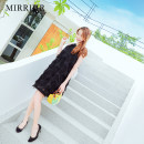 Dress Summer of 2018 SMLXL Pink black (recommended slim) white Middle skirt Commuting Single sleeveless Pure color Loose waist zipper A-line skirt Halter Korean version Type A 18-24 years old C1839 Mirrjir Bow knot Chiffon Polyester fiber 89.7% polyacrylonitrile fiber (acrylic) 10.3%