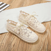Low top shoes 35 36 37 38 39 40 Mealguet / Mingji Round head Mesh Flat bottom Low heel (1-3cm) Shallow mouth cloth Summer 2021 Frenulum leisure time Adhesive shoes Youth (18-40 years old) Solid color rubber Single shoes cloth leisure time Same model in shopping mall (sold online and offline)
