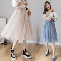 skirt Spring of 2019 Average size Grey Pink apricot white black blue Mid length dress Versatile High waist Pleated skirt Solid color Type A 18-24 years old A84852 More than 95% Sz polyester fiber Polyester 100% Pure e-commerce (online only)