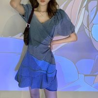 Dress Summer 2021 Picture color Average size Short skirt singleton  Short sleeve commute V-neck High waist Solid color Socket A-line skirt puff sleeve Others 18-24 years old Type A Uniday Korean version Lotus leaf edge 51% (inclusive) - 70% (inclusive) Denim polyester fiber Polyester 66% others 34%