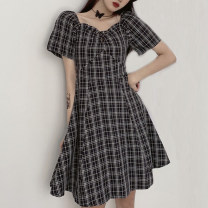 Dress Summer 2021 black M L XL Short skirt singleton  Short sleeve commute square neck middle-waisted lattice Socket A-line skirt routine Others 18-24 years old Type A Uniday Korean version Ruffle printing 1055# 71% (inclusive) - 80% (inclusive) other polyester fiber Polyester 78% cotton 22%