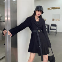 Dress Spring 2021 Black Belt S M L Short skirt singleton  Long sleeves commute tailored collar High waist Solid color Single breasted Irregular skirt routine Others 18-24 years old Type A Uniday Korean version fold 6601# 81% (inclusive) - 90% (inclusive) other polyester fiber Polyester 84% other 16%
